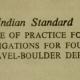 IS-10042-1981 INDIAN STANDARD CODE OF PRACTICE FOR SITE INVESTIGATIONS FOR FOUNDATION IN GRAVEL-BOULDER DEPOSIT.