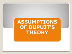 Assumptions of Dupuits Theory