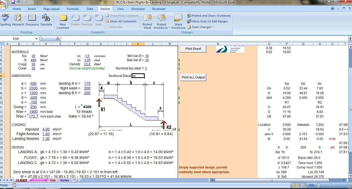 Stair Flight & Landing Spreadsheet - Civil Engineers PK
