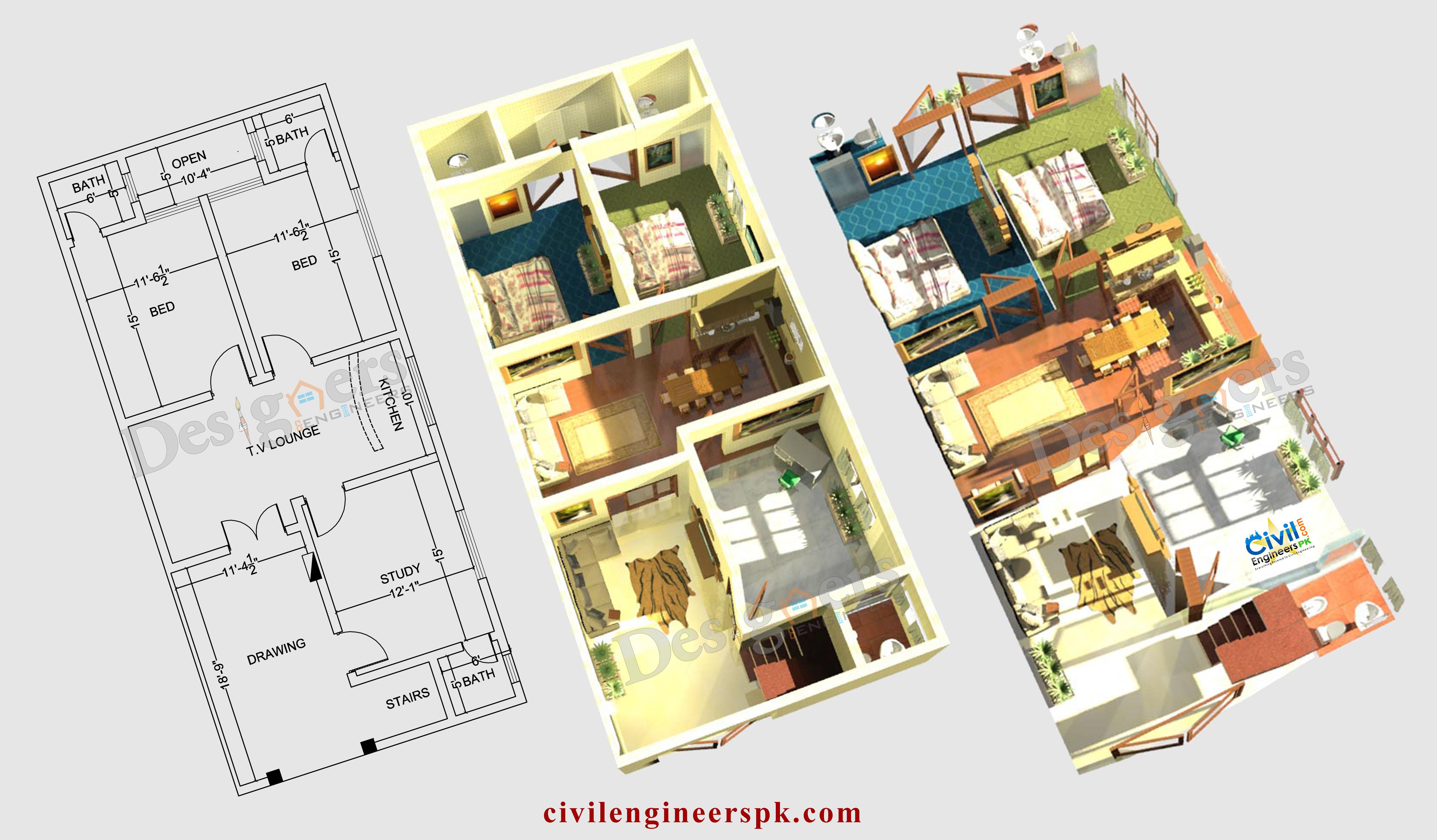 6 Marla House Plans - Civil Engineers PK