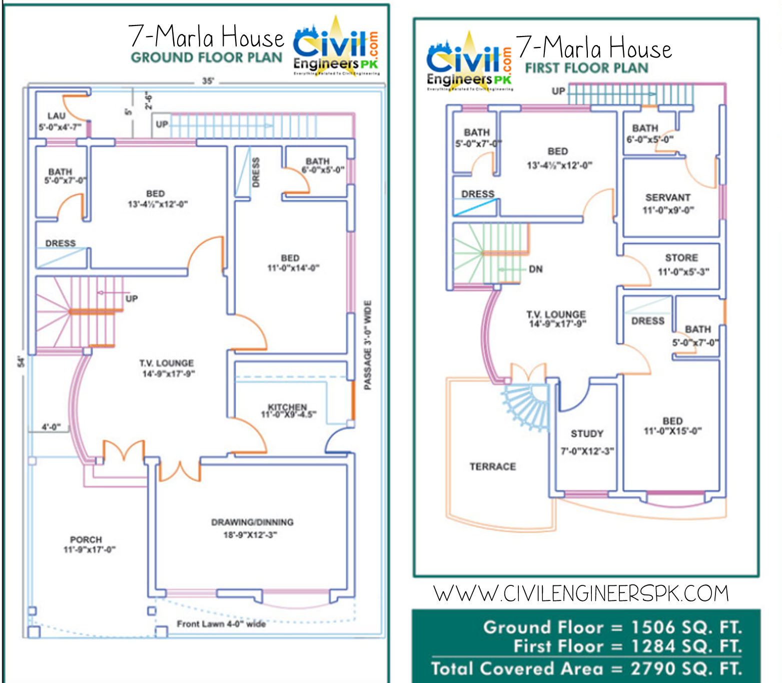 7 marla house plans civil engineers pk for Home plans 3d designs