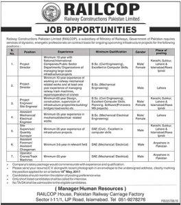 Railway Constructions Pakistan Limited Jobs