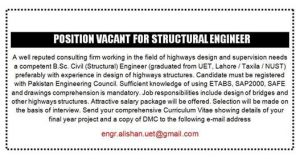 Position Vacant for Structural Engineer