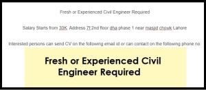 Fresh or Experienced Civil Engineer