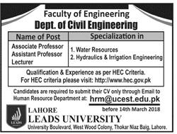 Civil Engineering Jobs in Leads University