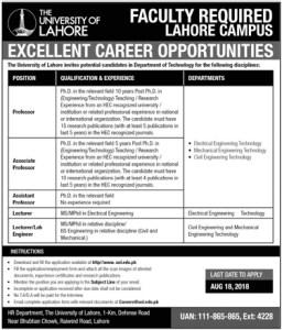 Civil Engineering Jobs in University of Lahore