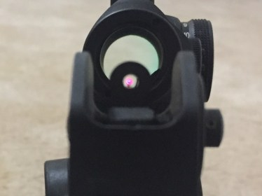 Viewing the dot through the iron sights...