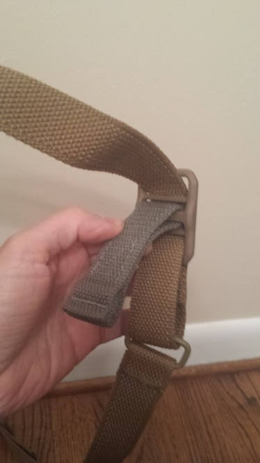 Single piece of webbing does all the adjusting on the VCAS sling