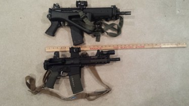 Sig 556 SBR with stock folded (top) AR Pistol in .300 AAC with brace folded (bottom)