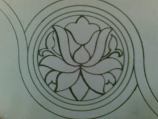 رسم تجريد وحدة زخرفية نباتية