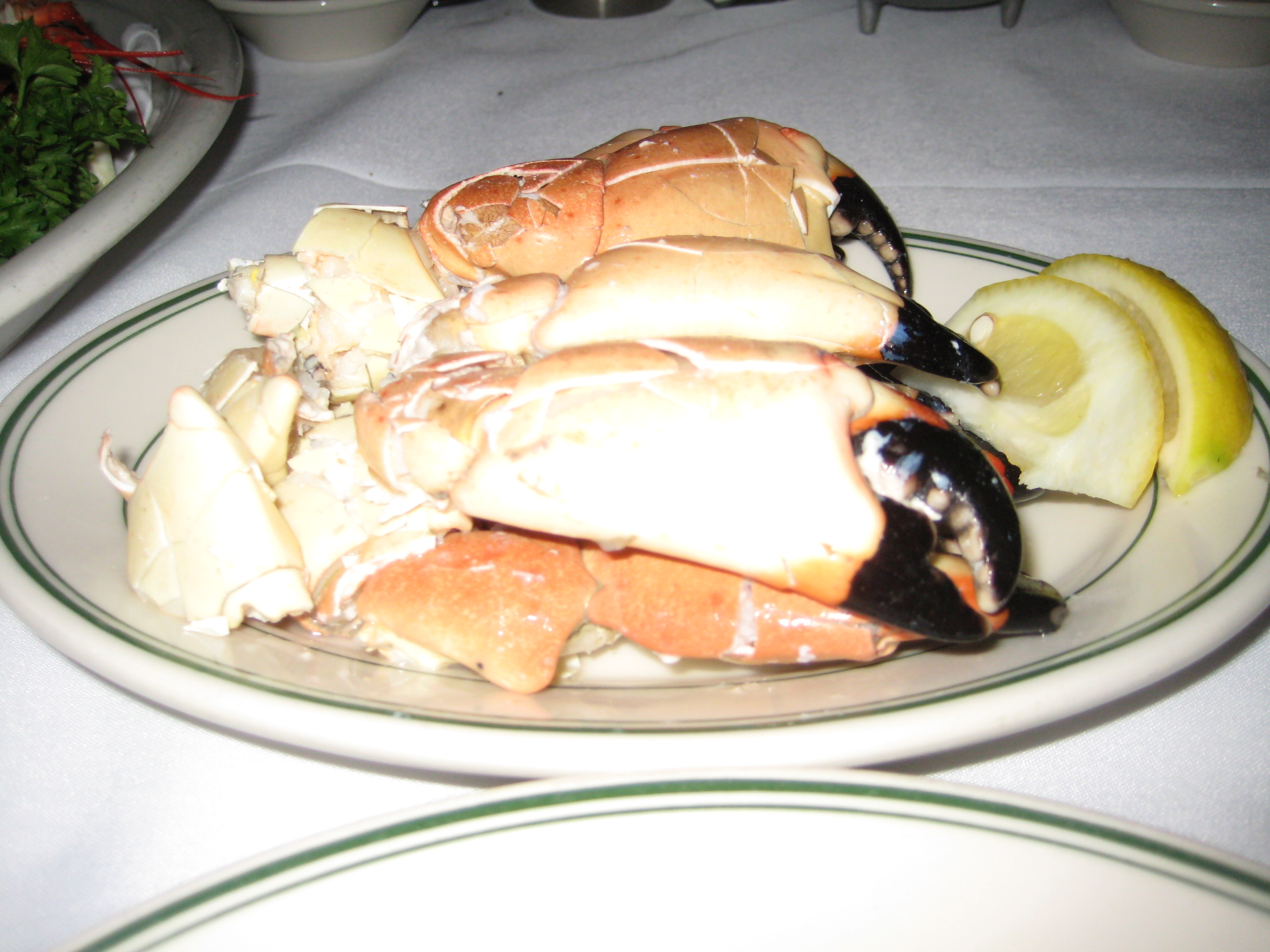 """A plate of """"select"""" stone crab claws at Joe's in Miami"""