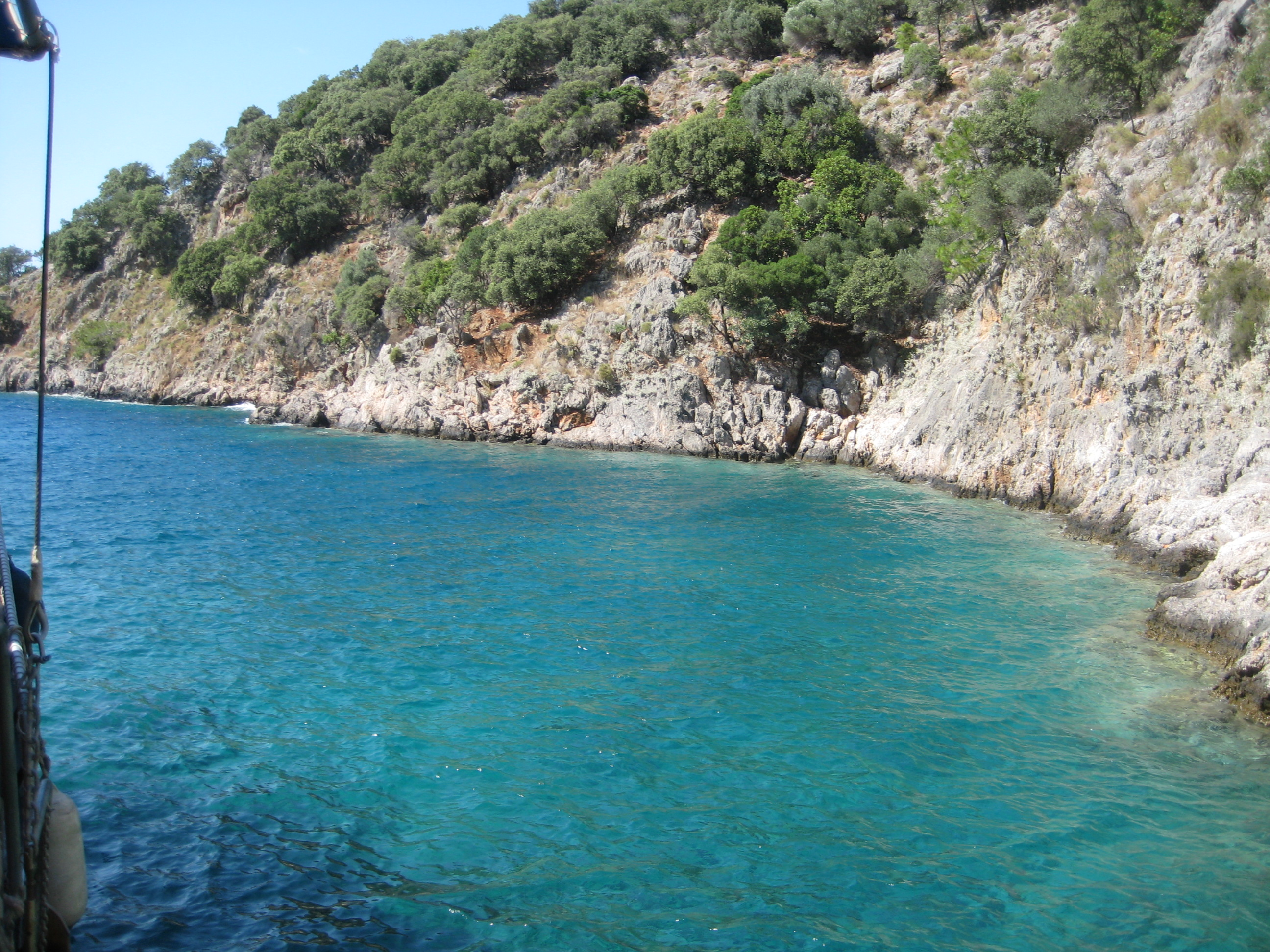 Just one of many gorgeous coves along the coast where we dropped anchor.