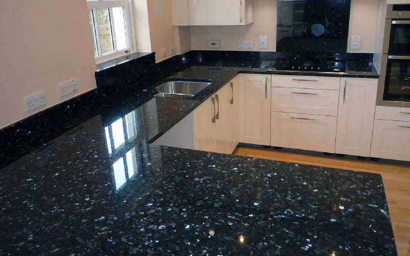 Black Tile Kitchen Countertops. Black Pearl Italian Granite Kitchen Countertop  Tile Countertops N