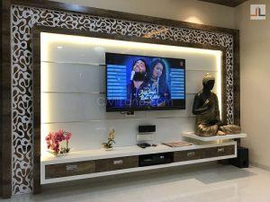 Back Painted Glass Highlighter TV Unit Design Ideas