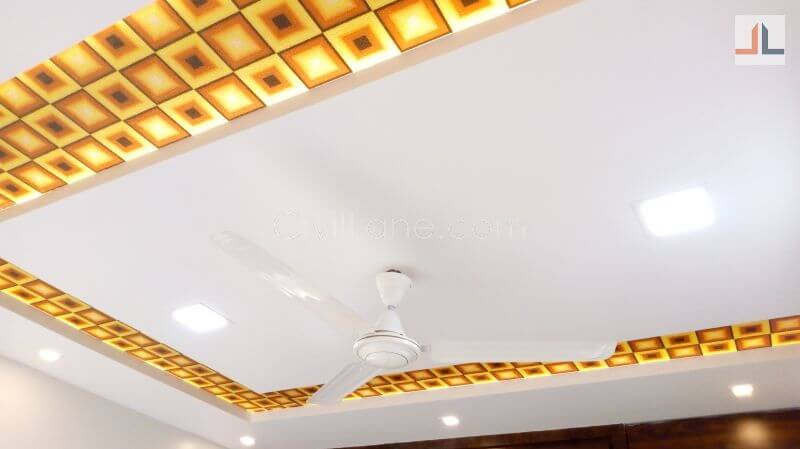 Gypsum and Wooden False Ceiling Design For Foyer Area