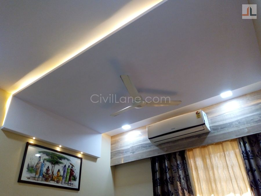 Master Bedroom False Ceiling Design Rectangle Shape Civillane