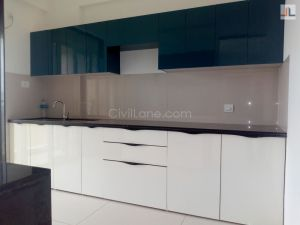 Modular Kitchen Runwal Elegant Lokhandwala Andheri West White Color Laminate Finish