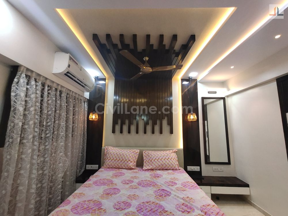 Master Bedroom False Ceiling Design Gypsum Board and Wooden Rafters