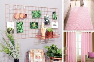 Pink rug and curtains