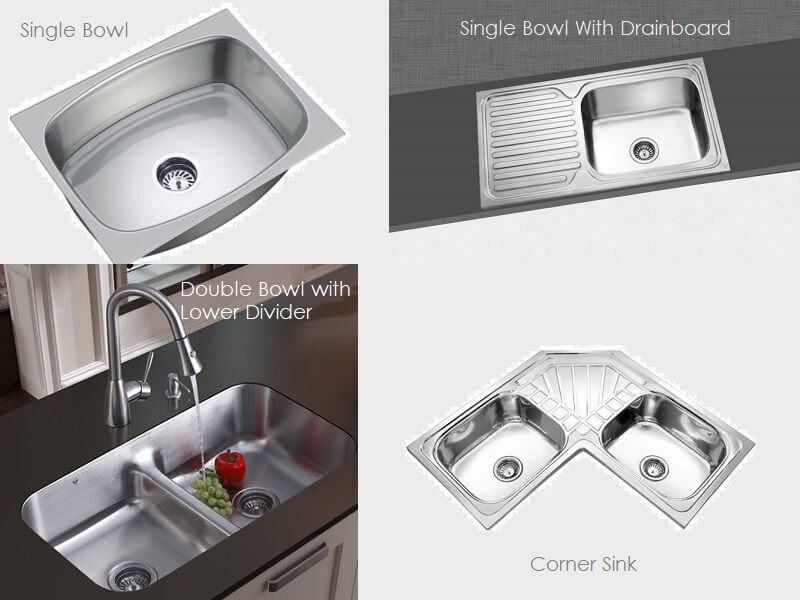 Types of Stainless Steel SS Kitchen Sinks For Indian Kitchen
