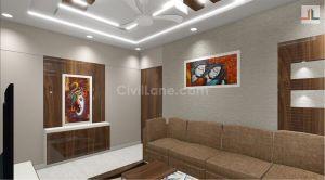 3D Living Room Design 1BHK Matunga Mumbai 2020