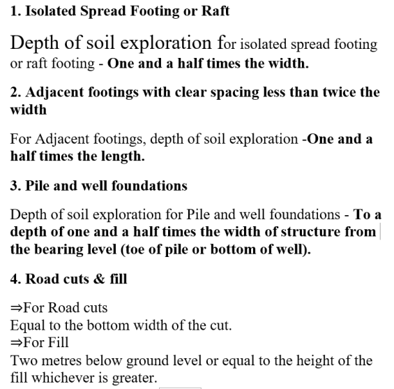 Depth Of Soil Exploration For Different Footings Foundation as per IS:1892