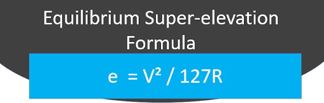 Equilibrium superelevation Formula