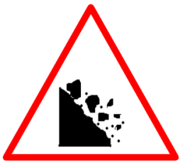 "Cautionary or Warning road  Signs or traffic signs - Falling Rocks || symbolic image of ""Falling Rocks"" Sign"