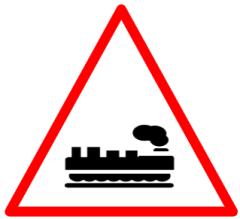 "Symbolic image of ""Unguarded Railway Crossing"" sign"