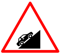 "Cautionary or Warning road  Signs or traffic signs -  Steep Ascent  || symbolic image of "" Steep Ascent"" Sign"