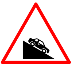 "Cautionary or Warning road  Signs or traffic signs -  Steep Descent || symbolic image of "" Steep Descent"" Sign"