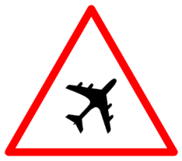 "Cautionary or Warning road  Signs or traffic signs - Runway Ahead || symbolic image of ""Runway Ahead"" Sign"
