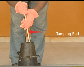 Concrete slump test - Tamped with a tamping rod/bar