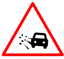 "Cautionary or Warning road  Signs or traffic signs - Loose Gravel || symbolic image of ""Loose Gravel"" Sign"