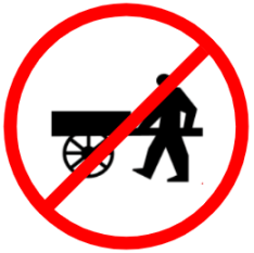 "Mandatory or Regulatory road  Signs or traffic signs - Hand Cart Prohibited || symbolic image of ""Hand Cart Prohibited"" Sign"