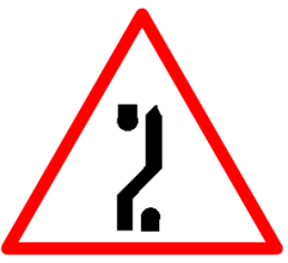 "Cautionary or Warning road  Signs or traffic signs - Traffic Diversion on Dual Carriageway || symbolic image of ""Traffic Diversion on Dual Carriageway"" Sign"
