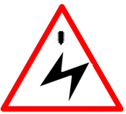 "Cautionary or Warning road  Signs or traffic signs - Overhead Cables Ahead || symbolic image of ""Overhead Cables Ahead"" Sign"