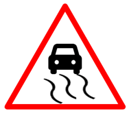 "Cautionary or Warning road  Signs or traffic signs - Slippery Road || symbolic image of ""Slippery Road"" Sign"