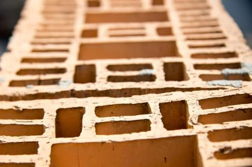 Hollow clay block partition wall