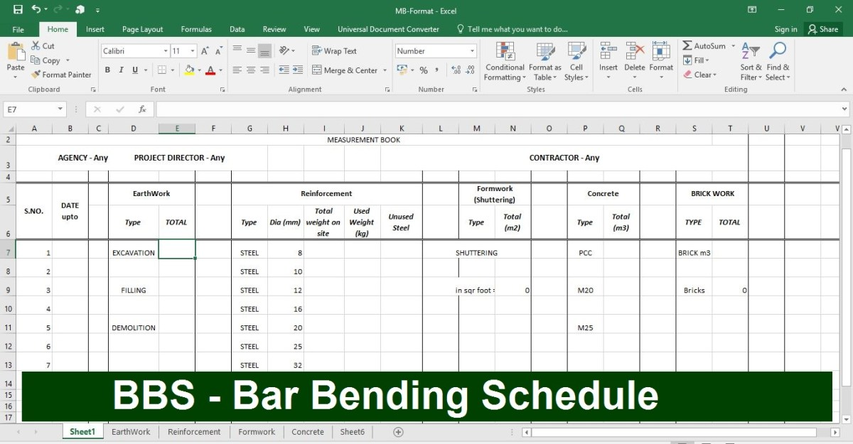 Bar Bending Schedule (BBS) Calculation in Excel Sheet- Download BBS Steel, Brick and Earthwork