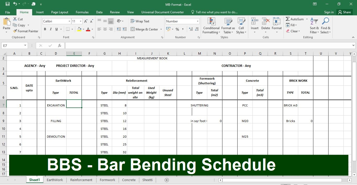 BBS in Excel Sheet