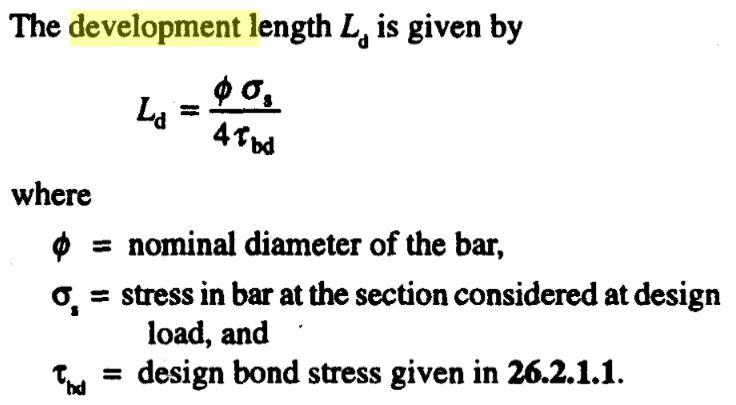 development length of bar