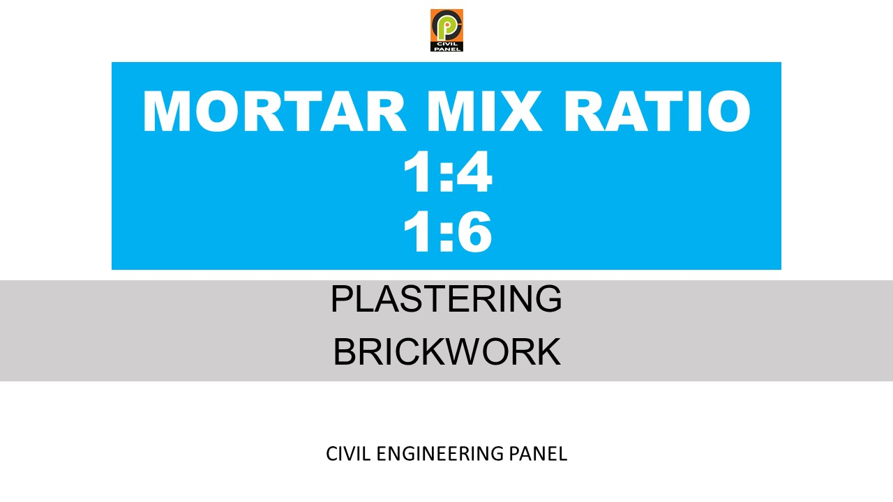 MORTAR MIX RATIO IN PLATERING BRICKWORK OF CONSTRUCTION