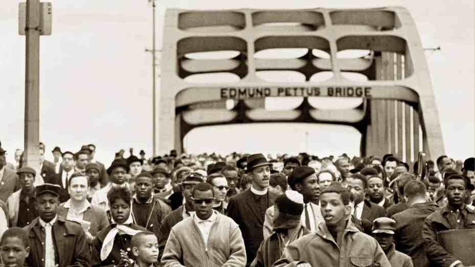Marching across Edmund Pettus Bridge
