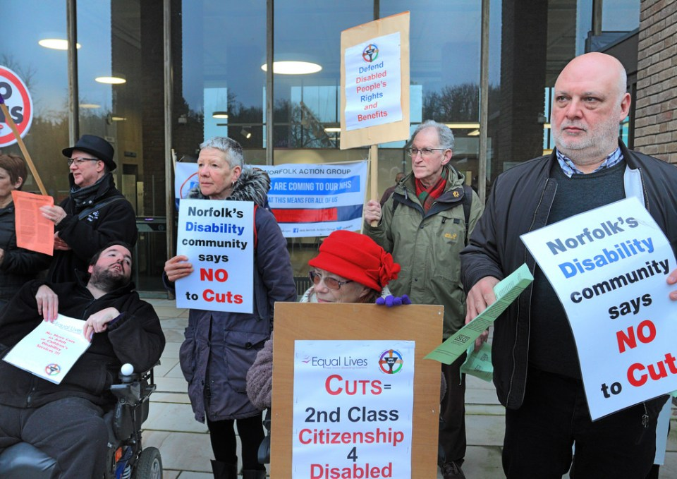 Disability protest outside County Hall Norwich