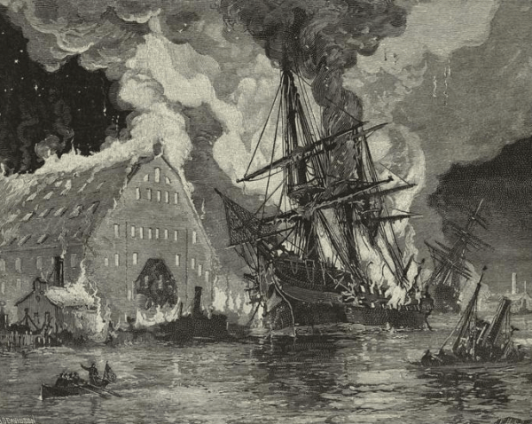 Burning of U.S.S. Merrimack at Norfolk | Image Credit: Wikimedia.org