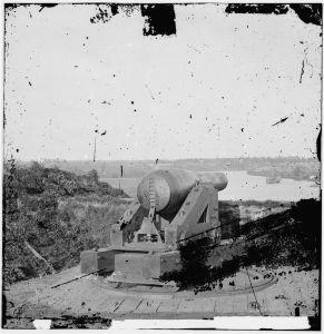 Confederate gun overlooking Drewry's Bluff | Image Credit: CivilWarDailyGazette.com