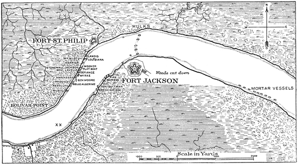 Map of area around Forts Jackson and St. Philip | Image Credit: CivilWarDailyGazette.com