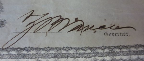 "Signature labelled ""gorvernor"""