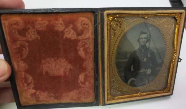 Photo of a soldier inside the small case